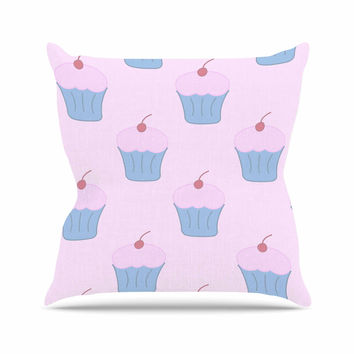 "NL Designs ""Pink Cupcakes"" Blue Blush Outdoor Throw Pillow"