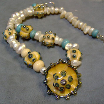 Romantic Beach Themed Artisan Lampwork Bead and Keishi Pearl Necklace