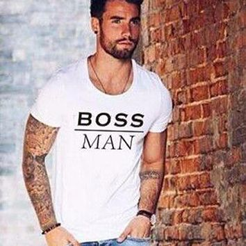 BOSS  tshirts New hot summer clothes Men's fashion Tee shirts Letter print Cool pullover