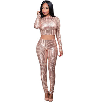 Two Pieces Women Jumpsuit And Rompers Black Red Gold Sequined Bodycon Jumpsuits For Women Autumn See Through Bodyuits Playsuits