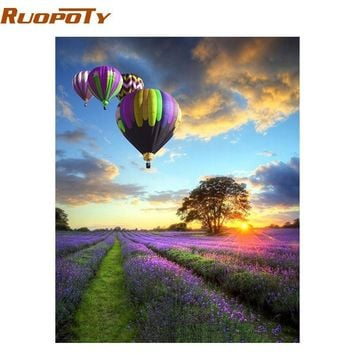 RUOPOTY Romantic Balloon DIY Digital Painting By Numbers Kits Landscape Modern Wall Art Canvas Acrylic Painting For Home Decor