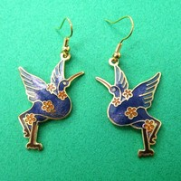 Bird Swan Animal Dangle Earrings with Floral Details in Blue and Gold
