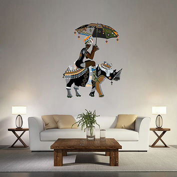kcik169 Full Color Wall decal Rhino Africa Animals African woman living children's bedroom