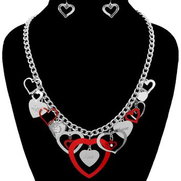 Heart Charms Necklace Set for Valentine's Day