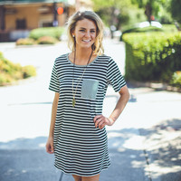 Striped T-Shirt Dress in Black