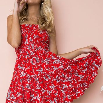 Wildflower Wishes Red Floral Pattern Strapless Smocked Ruffle Empire Waist Casual Mini Dress