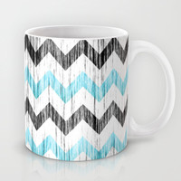 Grunge Chevron black/white/cyan Mug by RobozCapoz