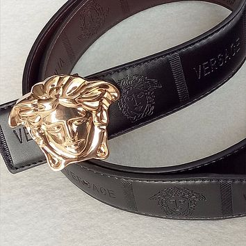 Versace Medusa Black Leather Men's Belt Size 43 Gold New!