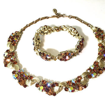 Lisner Rhinestone Necklace Bracelet Set, Aurora Borealis Smokey Topaz, Demi Set, Brushed Gold Tone, Signed, Vintage 1950s, Lisner Jewelry