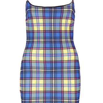 Petite Tori Square Neck Bodycon Checked Mini Dress | Boohoo