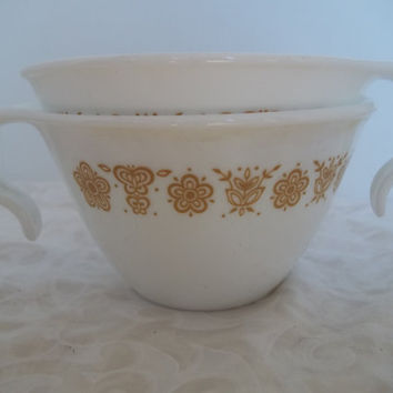 Set of Two Corelle Gold Butterfly Loop Handle Cups Mid Century Vintage Corelle Cups