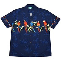 macaw blue hawaiian border shirt