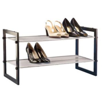 The Container Store > Walnut 2-Tier Stackable Mesh Shoe Shelf