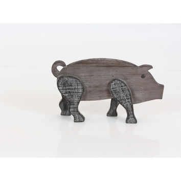 Wood brown finish pig figurine