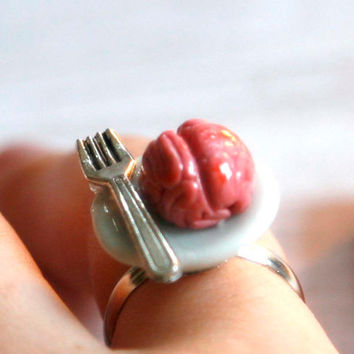Miniature brain with fork creepy jewelry adjustable ring