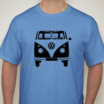 VW Bus T-Shirt - 60's and 70's Classic Pop and Sub Culture Icon - Car Tee - VeeDub Camper - Volkswagen MicroBus