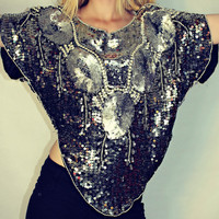 Vintage Indian Hand-Beaded 2-toned Silver Sequin top