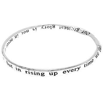Greatest Glory Poem Inspirational Quote Engraved Twist Bangle Bracelet