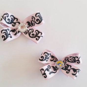 Pink and Black Damask Hairbows, Basic Mini Hair Bows, Set of 2 Pigtail Bows Toddler Hair Bows, Newborn Hair Bows