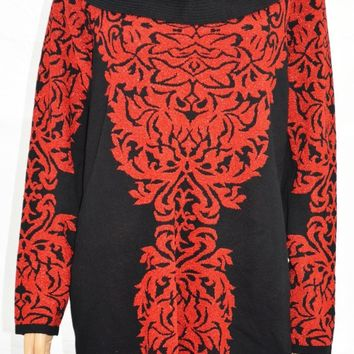 INC Concepts Women Red Metallic Jacquard Tunic Sweater Top Plus 3X