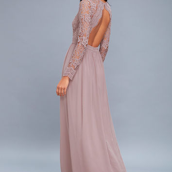 Awaken My Love Dusty Lavender Long Sleeve Lace Maxi Dress