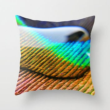 Peacock pillow, peacock cushion, bird pillow, green blue decor, throw pillow, throw cushion, peacock feather, cushion cover, animal cushion