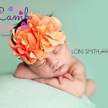 Coral Newborn Girl Tieback Headband, Couture Baby Headband, Newborn Girl Photography props, Hair Bands, Toronto Canada