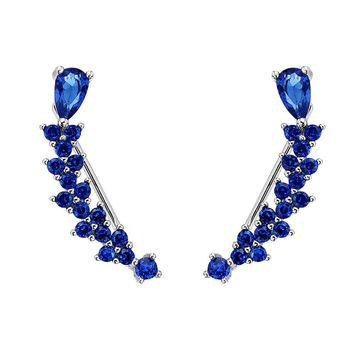 BELLA 925 Sterling Silver Cubic Zircon Blue Teardrop Sweep Ear Cuff Wrap Crawler Vine Hook Earrings 1 Pair Gift Party Jewelry
