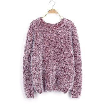Candy Color Fuzzy Faux Fur Pullover Women Loose Large Size Ladies Women Sweater
