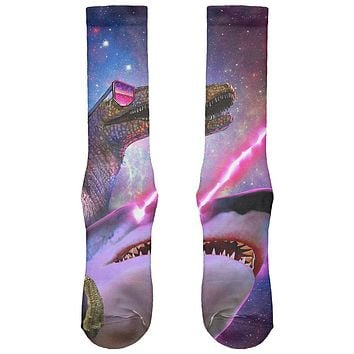 Velociraptor Laser Shark in Space All Over Soft Socks