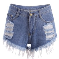 Ripped Denim Cutoffs Shorts