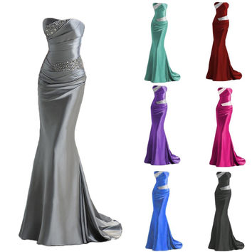 2017 New Long Formal Beaded Mermaid Sweetheart Bridesmaid Dresses Party Gowns Wedding Prom Dresses Stock Size 6 8 10 12 14 16
