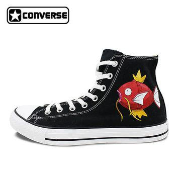 Skateboarding Shoes Women Men Converse All Star Hand Painted Shoes Pokemon Go Gyarados Magikarp Fish Dragon Design Sneakers