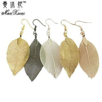 2017 Fashion Bohemian Long Earrings Unique Natural Real Leaf Big Earrings For Women  Jewelry Gift