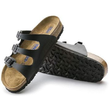 DCCK1 Birkenstock Florida Soft Footbed Birko Flor Black 0053011/0053013 Sandals