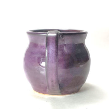 Large Handmade Purple Pottery Ceramic Coffee Mug,Hand thrown pottery mug,Ready to Ship, Pottery Mug, Ceramic Mug,Purple Ceramic Mug