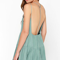 Ruf-filled with Joy Sage Green Dress
