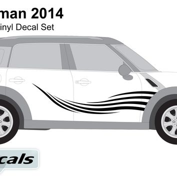 Mini Countryman 2014 Waves Side Graphics Vinyl Decal Set