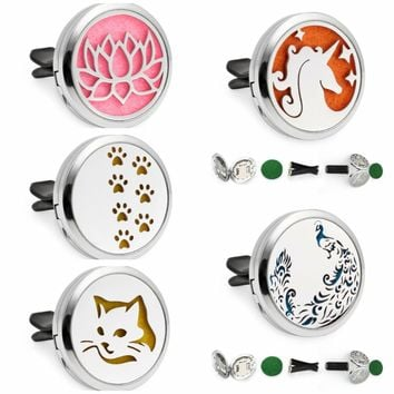 Cat Paw Lotus Flower 30mm Magnet Essential Oil Car Diffuser Locket Removable Vent Clip Aromatherapy Perfume Locket 10pcs Pads