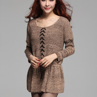Long Sleeve Drawstring Knit Sweater