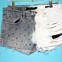 Distressed Denim Studded Shorts