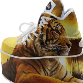 Tiger Buffalo Platform Shoes created by ErikaKaisersot | Print All Over Me