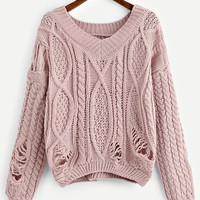 Ripped V-Neck Solid Jumper