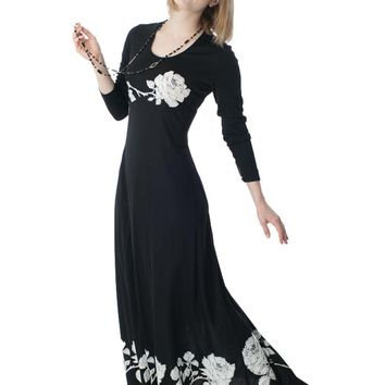 1970s Mr Dino Black White Rose Print Jersey Maxi Dress