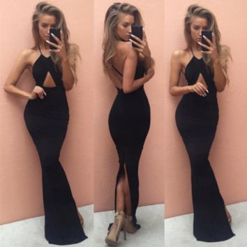 Grace Black Fitted Cut-Out Maxi Dress