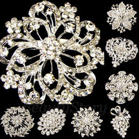 ADD'L Item FREE SHIPPING rhinestone crystal bouquet flower brooch pin