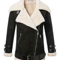 Zip-up Notched Collar Belted Faux Fur Coat