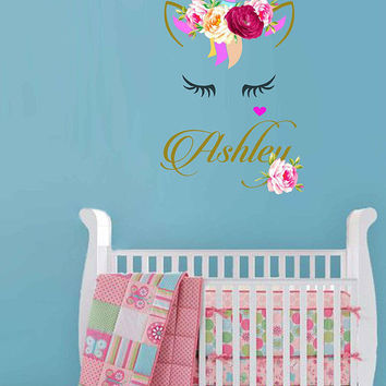Unicorn wall decal Custom Name Vinyl Wall Decal Large Wall Decal Smiling Unicorn Decal Happy unicorn decal Unicorn lashes cik2271