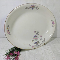 "Large Serving Platter American Chinaware Ivory with Pink & Purple Poppies Pattern Shabby Chic Extra Large 15"" China Oval Serving Dish Plate"