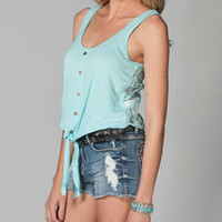 FULL TILT Tie Front Lace Back Womens Top